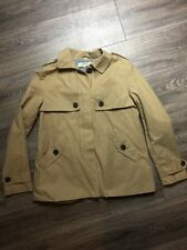 Nearly New Zara Basic Tan Jacket Button Details Sz S Military Trench Style