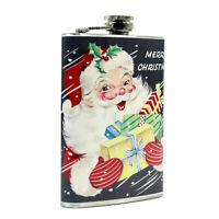 8 oz Pocket Flask Santa w/ Gifts Merry Christmas Liquor Gift Retro Vntg Decor