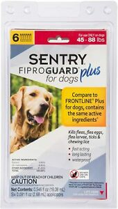 Sentry Fiproguard Plus For Dogs 45-88lbs Topical Flea & Tick Treatment 6 Months
