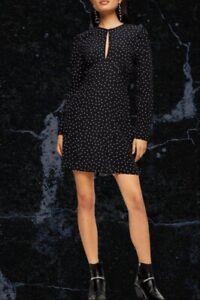 BNWT Topshop Black Piped Keyhole Starred Mini Dress Size 14