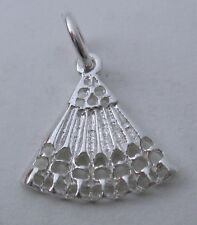 SOLID 925 STERLING SILVER FAN Charm/Pendant