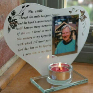 His Smile Inspirational Memorial Glass Photo & Candle Holder Remembrance Plaque