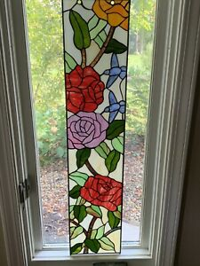 """35.5"""" X 8"""" Large Handcrafted Stained Glass Window Panel Hummingbirds Roses"""
