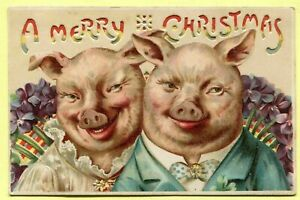 Rare~ HTL~ Hold To Light ~Merry Christmas Holiday Postcard-Happy PIGS-b768