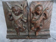 More details for two 17th century oak carved cherubs playing music  panels