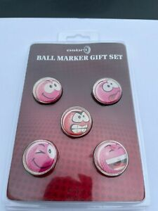Smiley 24mm Novelty PINK Golf Ball Markers - Resin Finish - Pack of 5