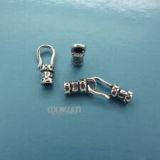 2 Sets Antique Sterling Silver fit 2mm Cord Crimp End Tube Cap Hook Clasp #33284