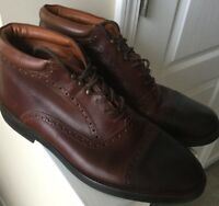 Johnston & Murphy Made in Italy 11.5 M men's brown leather boots Cap Toe Design