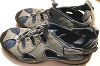 Lands End Womens Size 8.5 D Sport Sandals Sneakers Suede Blue / Gray Shoes