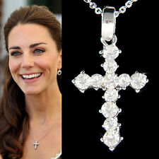 w Swarovski Crystal ~Simple CROSS God Lord Jesus Christ Charm Religious Necklace