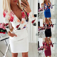 Womens Floral V Neck Mini Dress Ladies Evening Party Long Sleeve Bodycon Dresses
