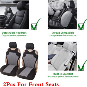 1 Pair T-Shirt Design Car Front Row Seat Covers Polyester Washable Cushions Gray