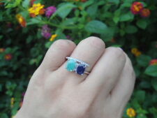 Natural SAPPHIRE & EMERALD Birthstone & white CZ 925 STERLING SILVER RING S8.75