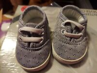 Baby Girl Shoes Tennis Gray/blue Canvas Soft White Soles Size 0 or NB Target