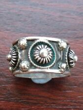 And Bead Domes Uk Size T 6.6grams Vintage Silver Broard Band Ring With Wirework