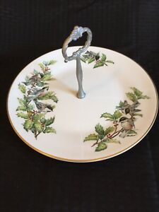 Beautiful Bohem Porcelain Chickadees & Holly Serving Tray With Handle England