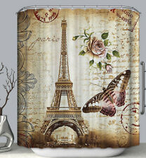 Vintage Eiffel Tower Butterfly Rose Postale Fabric SHOWER CURTAIN 70 Retro Paris