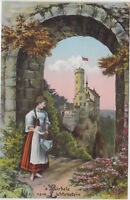 DG 180. Lichtenstein 1915 ! Burgansicht mit Bärbele - schöne Karte !