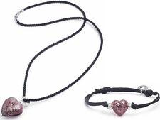 ANTICA Murrina lila handgemacht Glas Herz Halskette & Armband STARBRIGHT Set