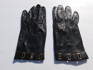 *DESIGNER LADIES BLACK LEATHER EVERYDAY GLOVES UNLINED SIZE 6