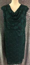 Dressbarn Collection Womens Sz 16 Sequin Dark Green Sleeveless Party Dress NWT
