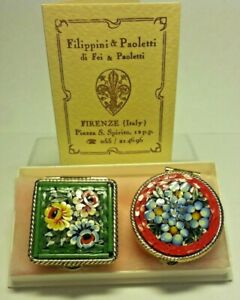 Vintage NIB Italian Micro Mosaic Boxes Gold Green Square Red Round Floral SET 2