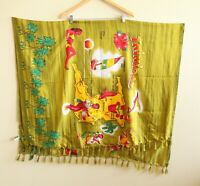 Vintage Beach Wrap Scarf Sarong Fringe Lightweight Trinidad Tropical Green 42x62