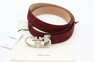 NWT Salvatore Ferragamo Adjustable Gancini Logo Print Red Black Suede Belt 42