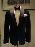Mens Blue Velvet Tuxedo Blazer Designer Wedding Party Wear Dinner Jacket Coat