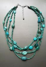 "Jay King Sterling Silver Turquoise 4 Strand Waterfall Necklace 18""-21"" Long"