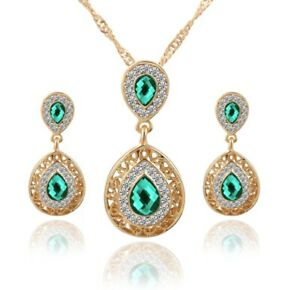 Crystal Bridesmaid Jewellery Bridal Wedding Party Necklace Earrings Drop Set