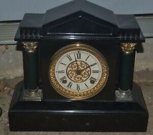 Antique Ansonia 1882 Cast Iron Mantle Clock w/ Pendulum and Key / Works