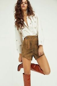 Free People One Teaspoon Leather Suede Sahara Shorts Western $250 Size M NEW