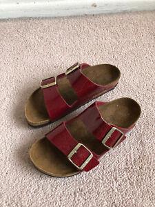 Birkenstock Red Sandals US Size 6.5 EU 37