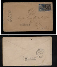 Thaiti #22,  French Oceania 6  franking on cover to US  1896         MS0903