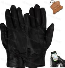Ladies Touchscreen Real Leather Lined Gloves With Bow Womens Smart Driving Large 81114