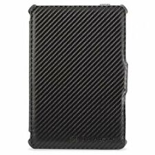 iPad Mini 1 / 2 / 3 Gen - Black Carbon Fiber Folio Kickstand Pouch Case Cover