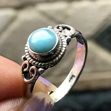 Genuine Dominican Larimar 925 Sterling Silver Engagement Bezel Setting Ring 6.75