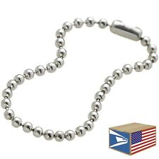 "25 LOT Silver 4"" 2.5mm BALL CHAIN LINK NICKEL PLATED DOG TAG CONNECTOR KEYCHAIN"