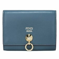 a686b0f8d789 Fendi by The Way Blue Tempesta Leather Business Card Case Wallet 8M0217