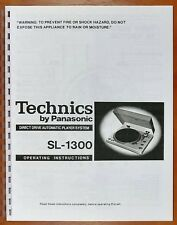 Technics SL-1300 Turntable Owners Manual