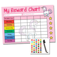 Unicorn Reward Chart - Kids Childrens School Sticker Star Chart - Stickers & Pen