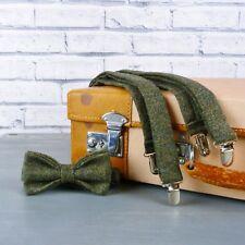 Handmade Yorkshire Tweed Bow Tie and Braces - Dark Green Birdseye