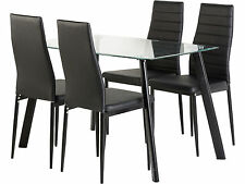 Abbey Dining Set Clear Glass Top with Black Legs & 4 Black PU Leather Chairs