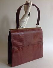 Vintage 1960s Chestnut Brown Handbag Embossed Faux Lizard With Satin Lining