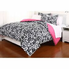 Amelia 7Pc Bed In Bag Comforter Set, Queen, Floral - Reversible, Black / White