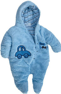 Size 3 - 6 Months Baby Boy bundle up hooded Infant Blue Winter One Piece Suit