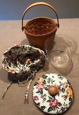 Longaberger 1997 Small Fruit Basket Combo +Quilted Lid Garden Splendor Excellent