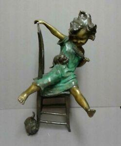 """SCULPTURE JUAN CLARA """"Girl on a Chair with Kittens"""" Bronze Sculpture Signed Rare"""