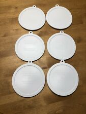 """6 White 6¼"""" Round Plastic Corning Corelle 18oz Cereal Soup Lids Covers 418-PC"""